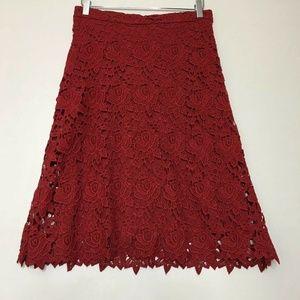 Zara Women Crochet Rose Red Midi Skirt Blogger